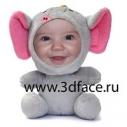 Кукла 3D FACE мягкая игрушка Слоненок