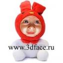 3D FACE мягкая игрушка, зайчик,  оригинальный подарок