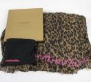 Шарф леопардовый с розовой надписью Louis Vuitton