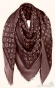 Шаль кашемировая Louis Vuitton люрексом (Коричневая, Черная)