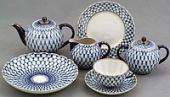 Сервиз чайный Кобальтовая сетка форма Тюльпан на 6 персон 22 предмета