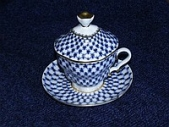 Чашка с блюдцем с крышкой Кобальтовая сетка ф. Подарочная-2, 250 мл