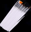 Набор кистей для дизайна ногтей, 15 шт (1 дотс, 1 веерная, 13 для дизайна)