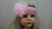 Повязка для волос «Шифоновая розочка» Нежно-розовая