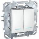 Выключатель (переключатель) двухклавишный Schneider Electric Unica с инд. лампой сх.6+6 U5.0303.25NZ