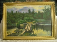 """картина маслом """"У омута"""" копия с И.Левитана"""