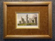 1829 год. Гравюра, пейзаж, акварель РУИНЫ ЗАМКА в раме