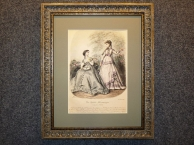 1867 год Старинная гравюра МОДА, акварель, в раме