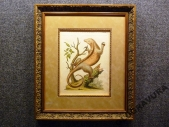 1755 год Антикварная гравюра, раритет! ЛЕНИВЕЦ в раме