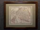 1874 год. Красивая карта! Митчелл * РОССИЯ * в раме