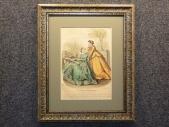 1866 год Старинная гравюра, акварель МОДА, в раме