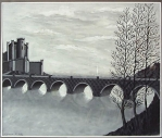 Вид на замок с мостом.  Графика.