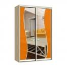 Серпантин шкаф-купе с оранжевым зеркалом