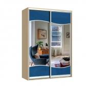 Фристайл шкаф-купе двухдверный зеркальный с Синим стеклом