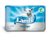 Туалетная бумага Lambi белая 3-х сл. 2 рулона (20 шт. в упаковке)